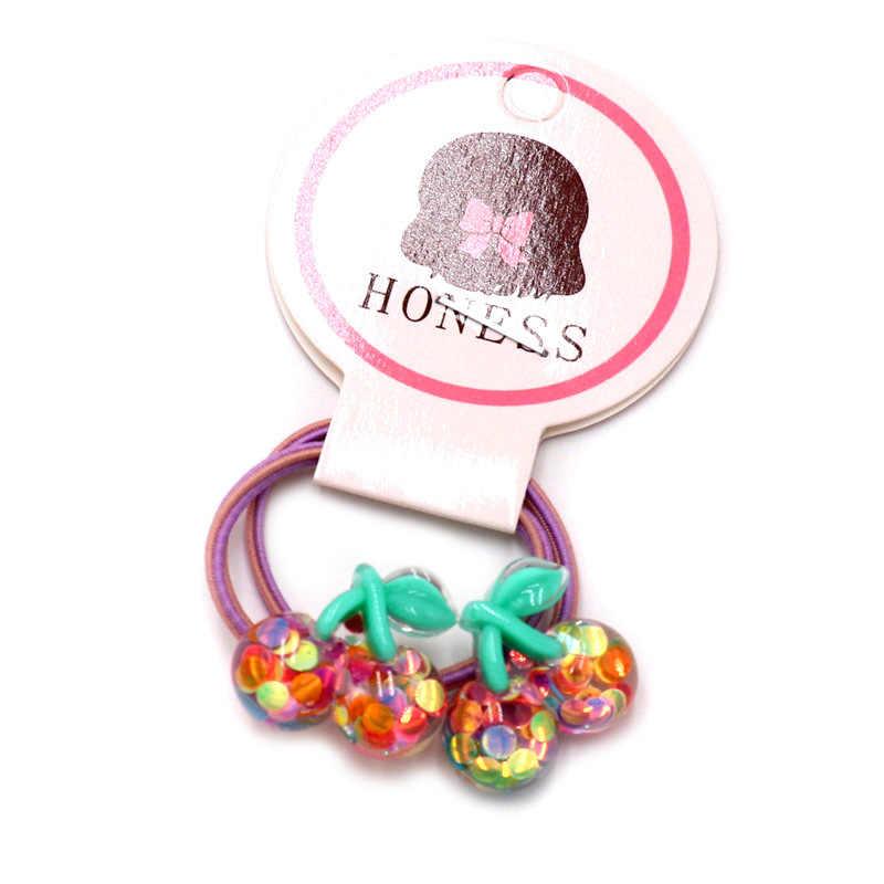 2 unidades/pacote crianças fruta 3cm mini borracha banda meninas bonito doce-colorido acrílico melancia banana faixa de cabelo crianças rabo de cavalo titular