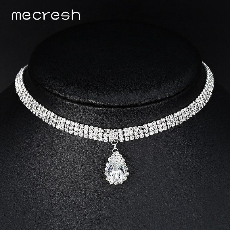 Mecresh Choker Necklace Rhinestone Collar Crystal Teardrop Silver-Color Trendy Women