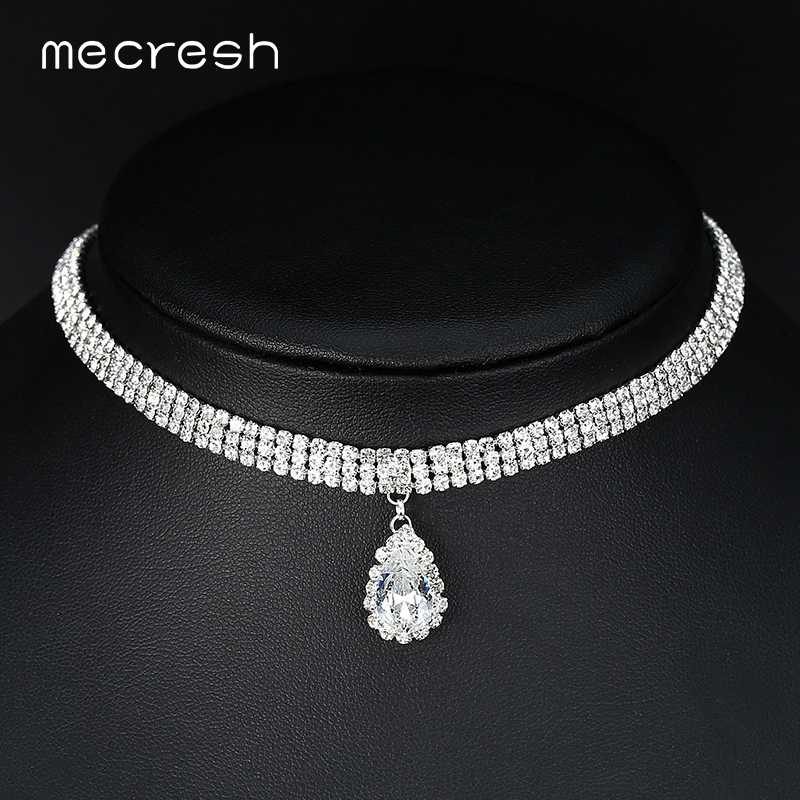 Mecresh Classic Crystal 3 Row Silver Color Teardrop Choker Necklace for Women Trendy Rhinestone Collar Necklace Jewelry MXL131