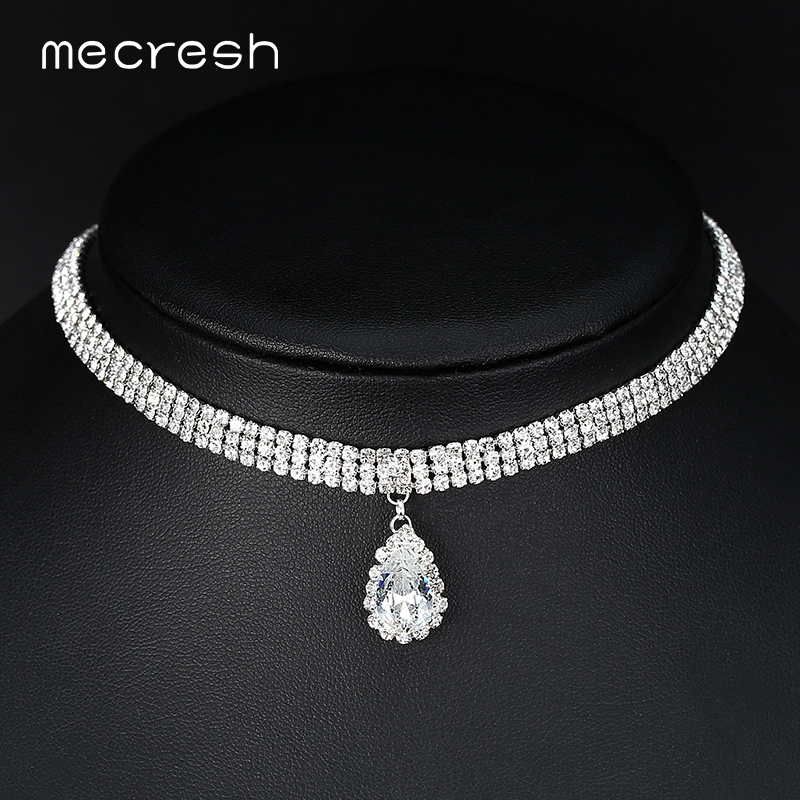 Mecresh Classic Crystal 3 Row Silver Color Teardrop Choker Necklace for Women Trendy Rhinestone Collar Jewelry MXL131