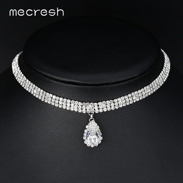 973ce16579 US $2.54 49% OFF|Mecresh Classic Crystal 3 Row Silver Color Teardrop Choker  Necklace for Women Trendy Rhinestone Collar Necklace Jewelry MXL131-in ...