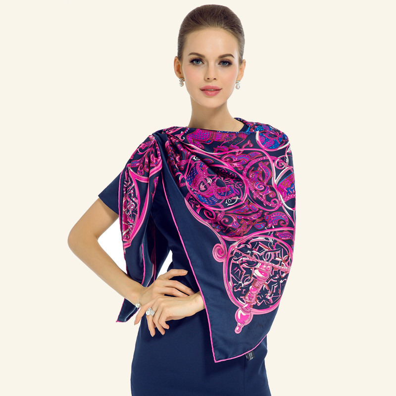 Twill Silk Women Scarf Euro Thousand Night Print Square Scarves Gift Neckerchief Luxury Brand Shawl Female Foulard Spain Bufand