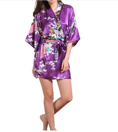 Brand Purple Female Printed Floral Kimono Dress Gown Chinese Style Silk Satin Robe Nightgown Flower S M L XL XXL