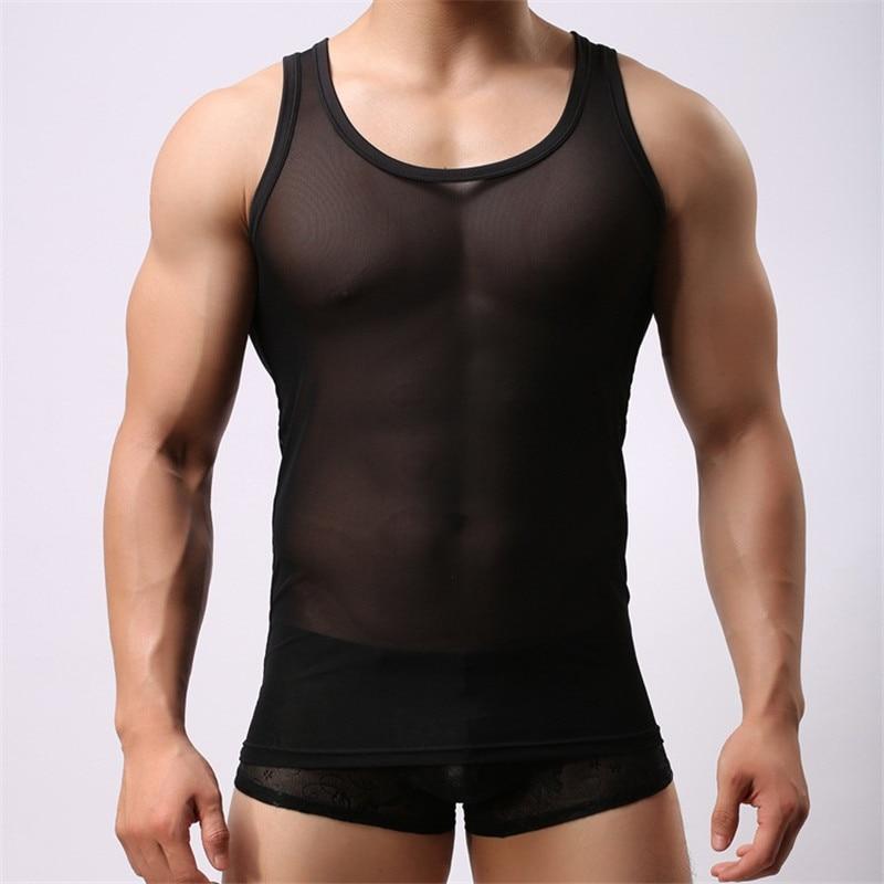 Eerlijkheid Mannen Vest Zomer Gaas Transparante Ademend Mesh Dunne Sport Vest Sexy Ondervacht Mannen Sexy Shirt Mannen Kleding Hemd Aangenaam Om Te Proeven
