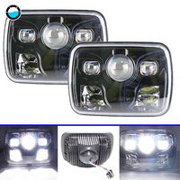 5x7 LED Headlights Projector with High/Low Beam DRL Driving Lamp For Jeep Truck Offroad Car 7x6 Square LED Headlights.
