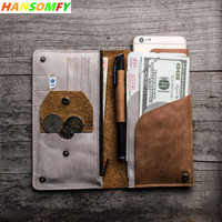 Original retro Men Long Wallets soft suede leather travel simple document bag Coin Purse color passport card holder wallet