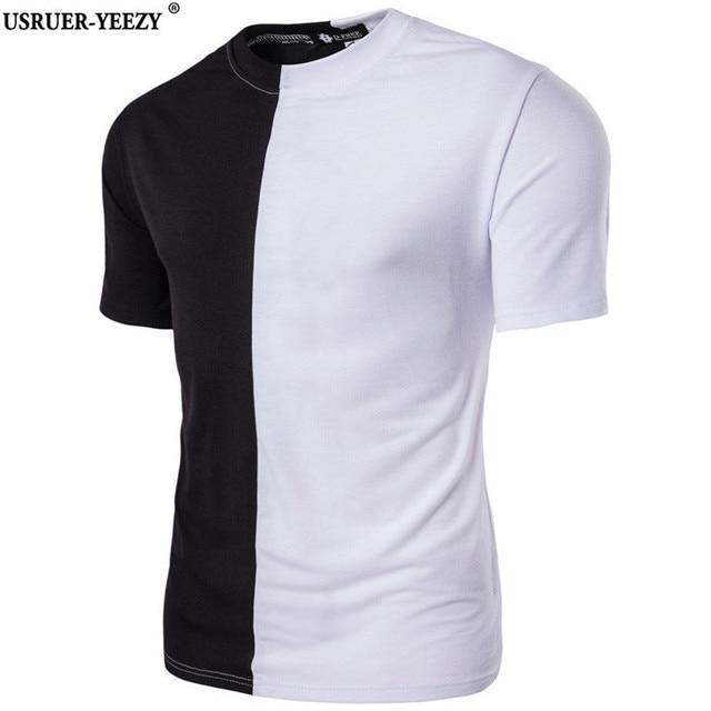 c294abd731a USRUER-YEEZY Half Black White New Designer 2017 Men Summer Dress Shirt Hip  Hop Street