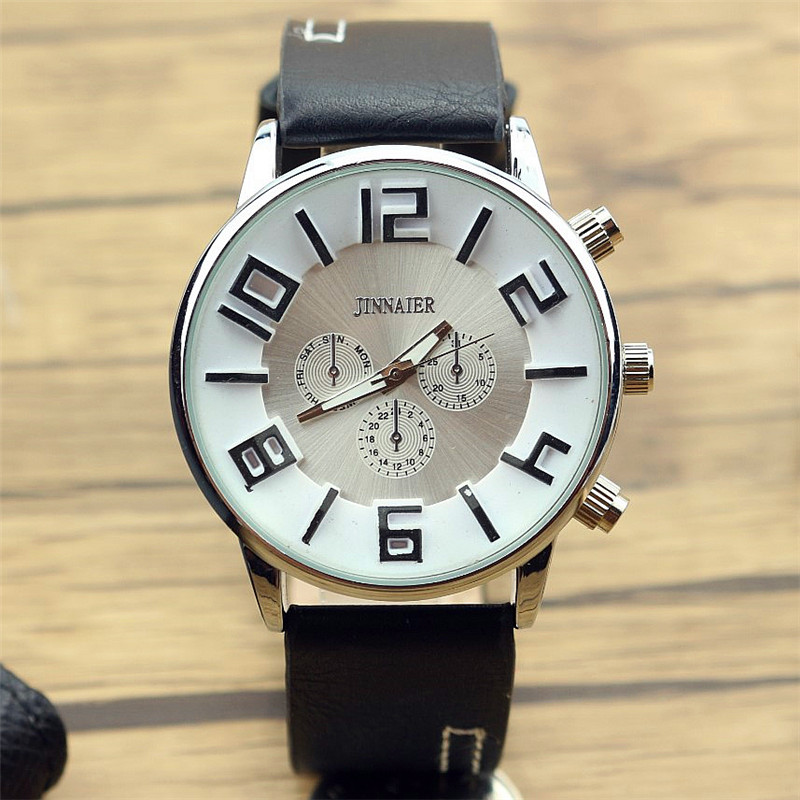 2017 New Men Business Casual Quartz Watch Promotion 3D Fashion Reloj De Correa De Cuero Masculino