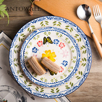 ANTOWALL American pastoral 10 inch butterfly flowers disc flat plate Western steak pasta dish household cake snack plate