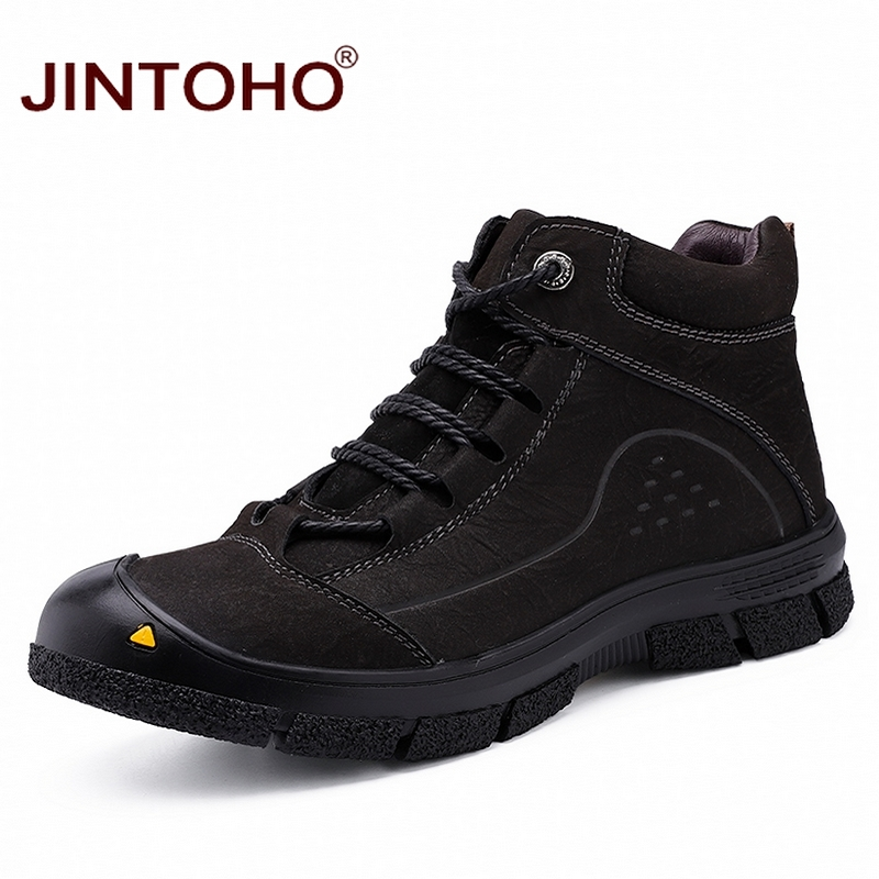 JINTOHO High Quality Genuine Men Ankle Leather Boots Fashion Winter Men Boots Snow Leather Boots For Men Brand Men Winter Shoes 2016 fashion warm genuine leather boots comfortable men winter boots quality ankle boots men winter shoes brand men s boots ok page 1