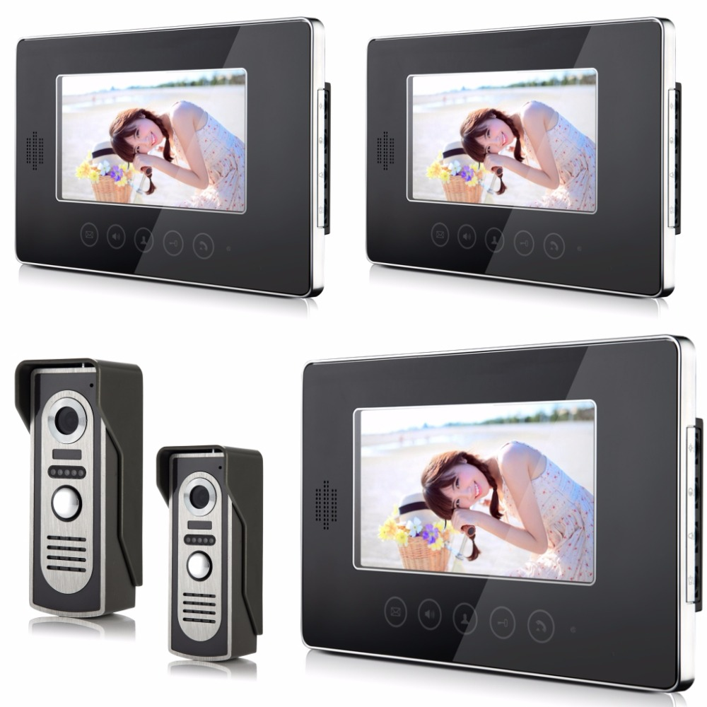 цены  7 Inch Color Touch Keypad 2v3  Video Door Phone Two Way Intercom System