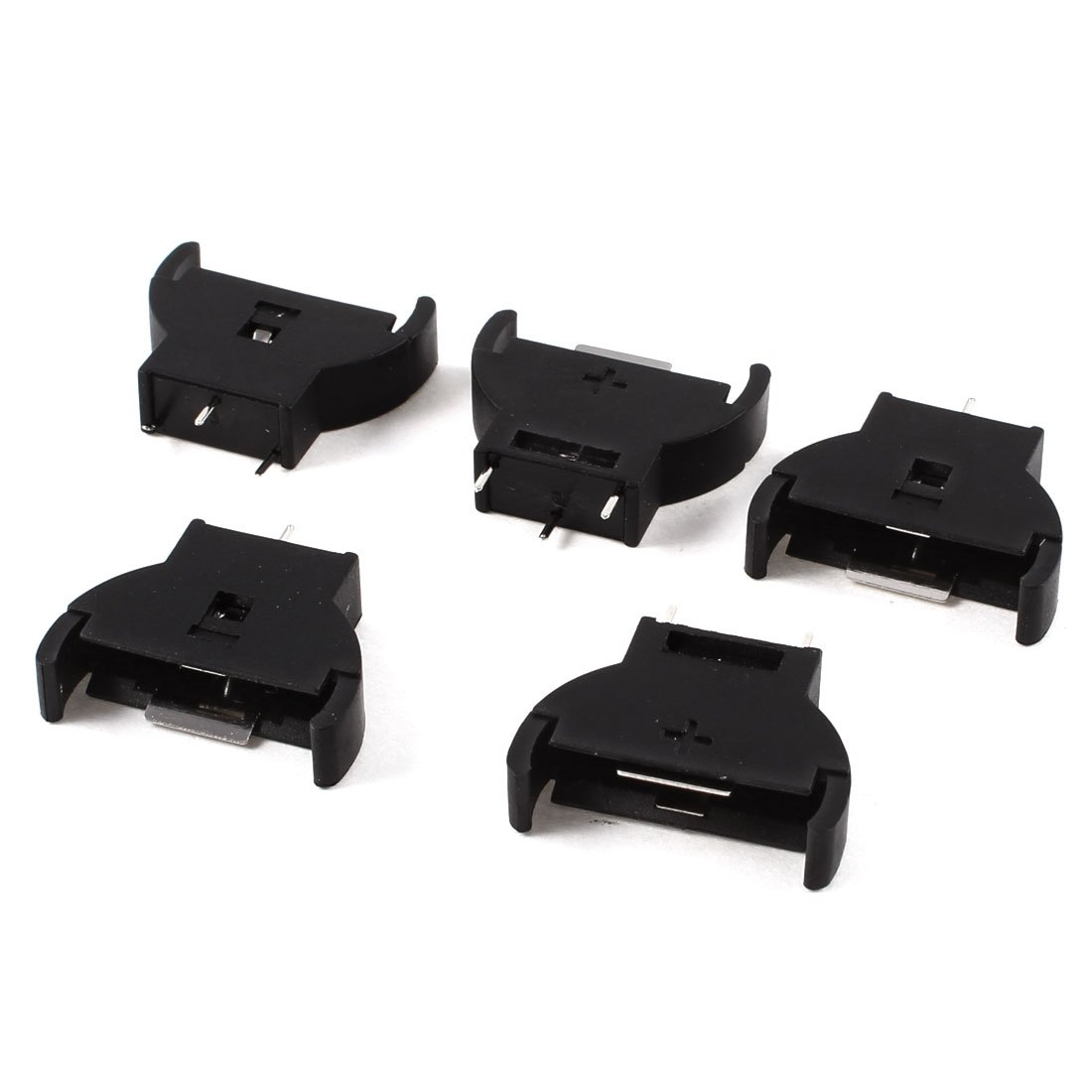 Brand New 5 Pcs Black Plastic CR2032 2032 3V Cell Coin Battery Socket Holder Case Battery Boxes 5pcs smd tab 20mm cr2032 2032 battery button cell holder coin cell retainer battery holder surface mount pcb