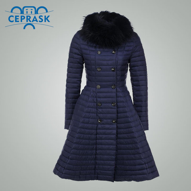 Ceprask 2016 High Quality women's winter Down Jacket Plus Size Long female coats Slim Belt fashion Warm Parka camperas casaco