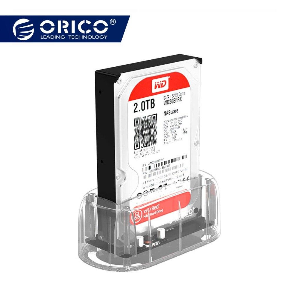 ORICO 3,5 transparente carcasa disco duro USB 3,0 5 Gbps a SATA3.0 HDD estación de acoplamiento UASP 8 TB discos para Notebook PC de escritorio