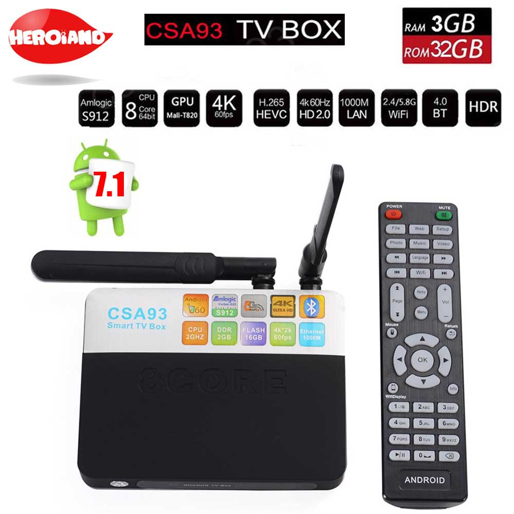 CSA93 Android 7.1 Smart TV Box Amlogic S912 Octa Core 3G+32G 1000M LAN BT4.0 Dual WIFI 2.4G/5.0G H.265 4K PK m8s pro set tv box zidoo x6 pro hd 4k 2k h 265 smart android tv box rk3368 bluetooth xbmc kodi 2g 16g 3d octa core 1000m lan dual wifi