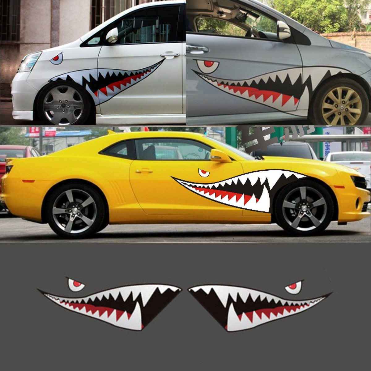 150 X 50cm Red Grey Shark Mouth Tooth Teeth Car Side Door