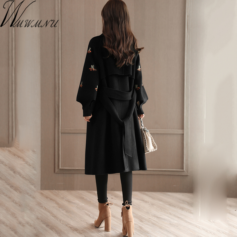 Wmwmnu 2017 Winter Lantern Sleeve Adjustable Waist Woolen Overcoat casual Bee Embroidery Cashmere long Jacket Women Wool Coat