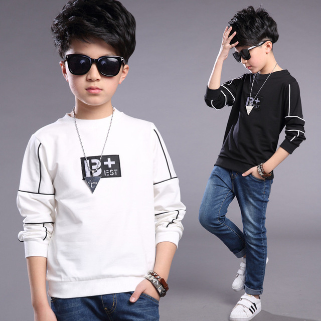 c3d67e6d1 2018 Spring Autumn Kids Boys Tshirts Long Sleeve Teenage Boy Clothing  Shirts Children Boys Clothes Kids 5 6 7 8 9 10 11 12 Years