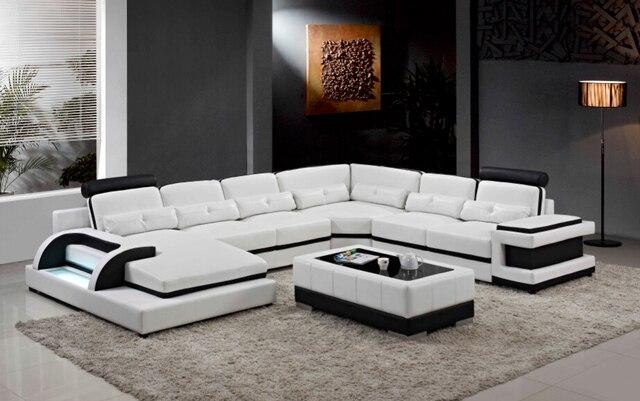 Gran sofá de cuero moderno sofá seccional sofá en forma de U para la ...