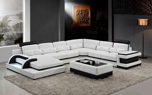 Grande divano in pelle ad angolo per divano componibile moderno a ...