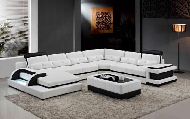 Grande divano in pelle ad angolo per moderno divano componibile ...
