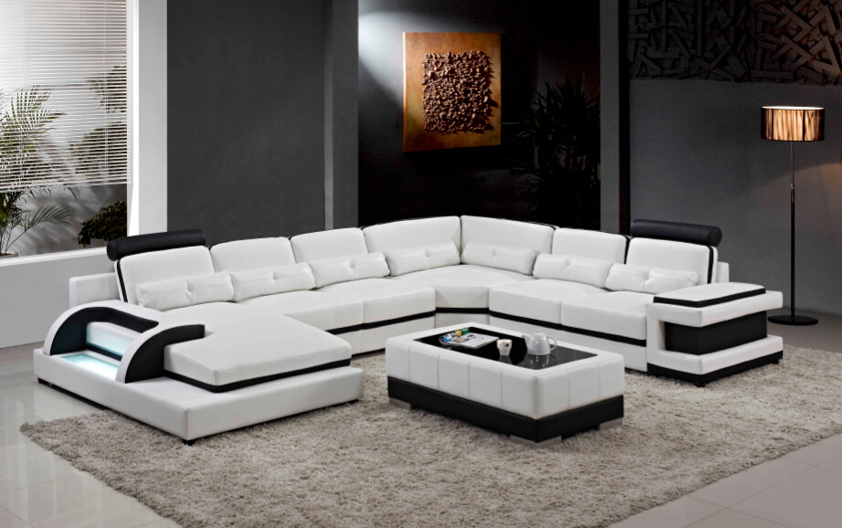 Buy large corner leather sofa for modern for Family room with sectional sofa
