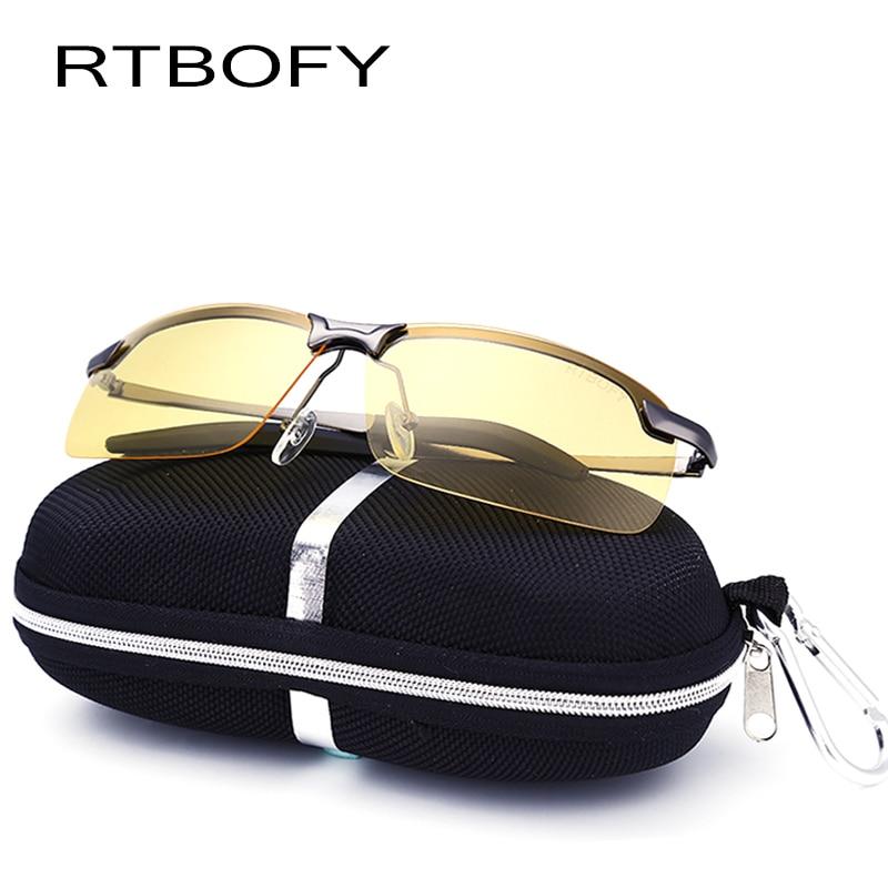 RTBOFY Polarisierte Sonnenbrille Männer Fahren Brillen Männer Nachtsichtbrille Markendesigner Mode UV400 Männliche Sonnenbrille Mit box