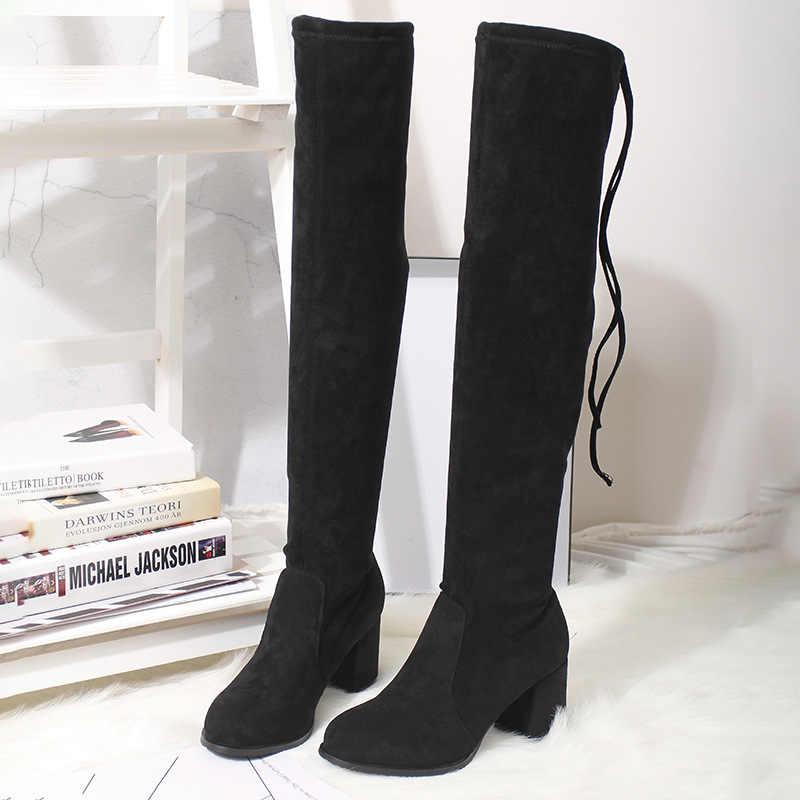 Bottes femmes nouveau sur le genou bottes femme grande taille Stretch genou-haute bottes automne hiver sauvage à talons hauts Slim longues bottes