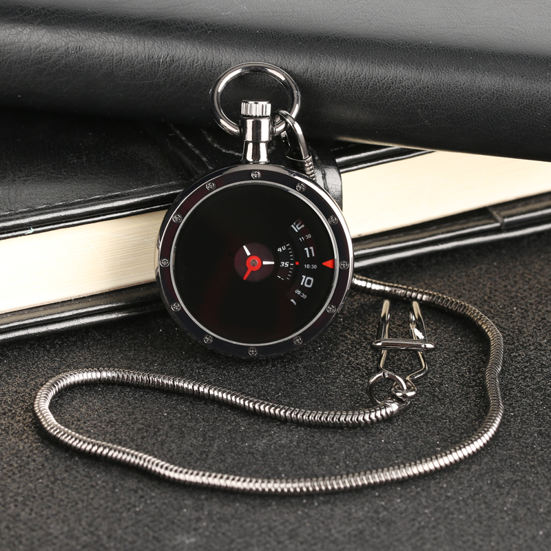 Vintage Turntable Measurement Creative Dial Pocket Watch Quartz Retro Black Pendant Snake Chain Men Women Clock Gifts