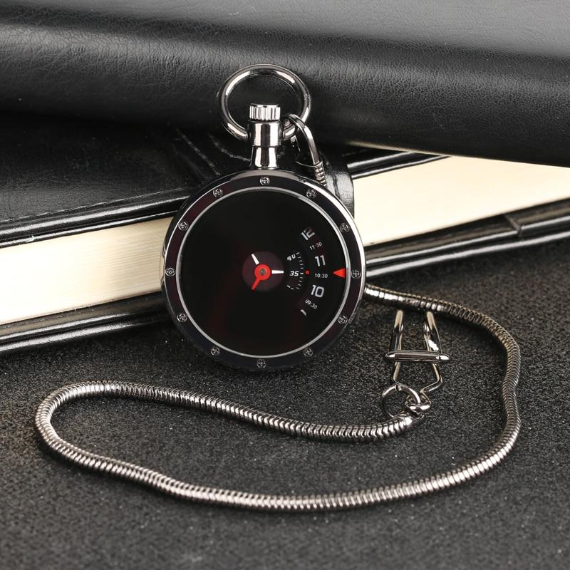 Vintage Turntable Measurement Creative Dial Pocket Watch Quartz Retro Black Pendant Snake Chain Men Women Clock Gifts