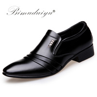 BIMUDUIYU Luxury Brand PU Leather Fashion Men Business Dress Loafers Pointy Black Shoes Oxford Breathable Formal