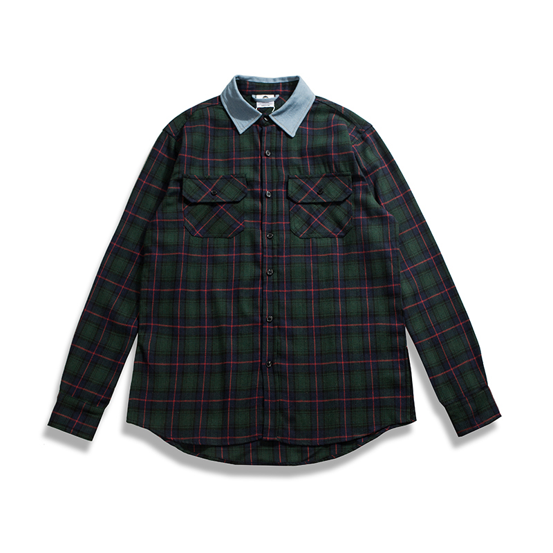 268d1bc292 2017 2018 fall US hip hop men unisex plaid green denim collared flannel  oversized dress shirt M XL-in Casual Shirts from Men s Clothing on  Aliexpress.com ...