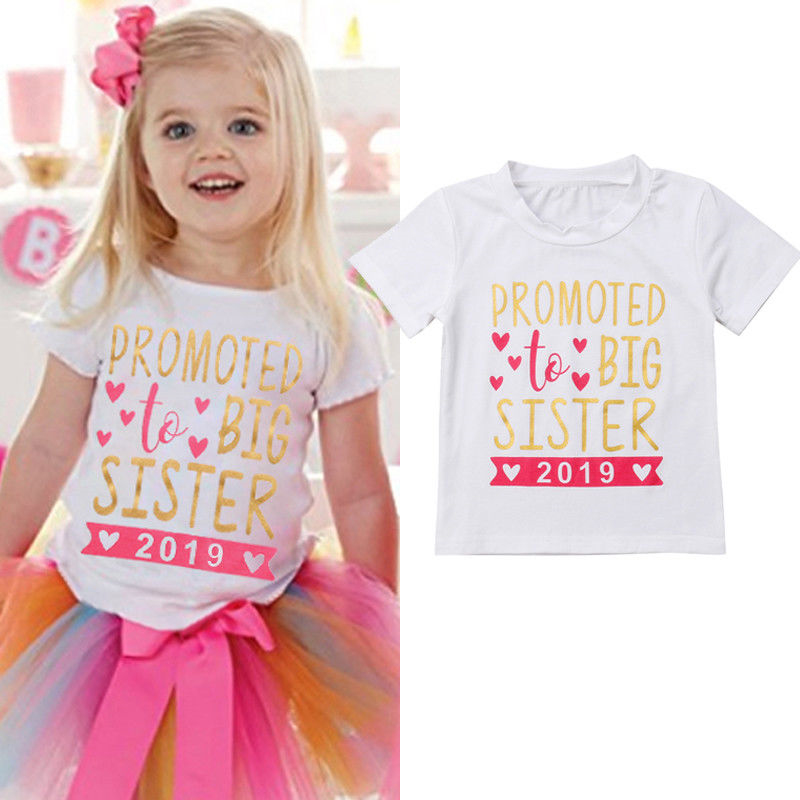 T-Shirt Short-Sleeve Stock SISTER PROMOTED Cotton Girls Baby Kids BIG UK Tops Tees 2-7Y