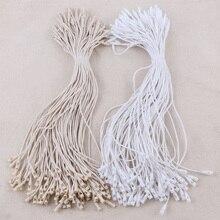 100 шт./лот пластиковые восковые линии тег белый бежевый Висячие тег полиэфирная веревка защелкивающийся замок булавка петля галстук крепеж