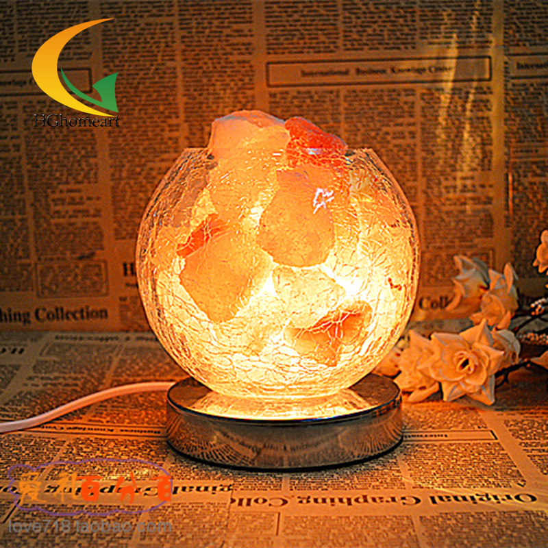 New genuine salt crystal lamp bedroom bedside lamp night light creative glass lamp fixtu Table Lamps