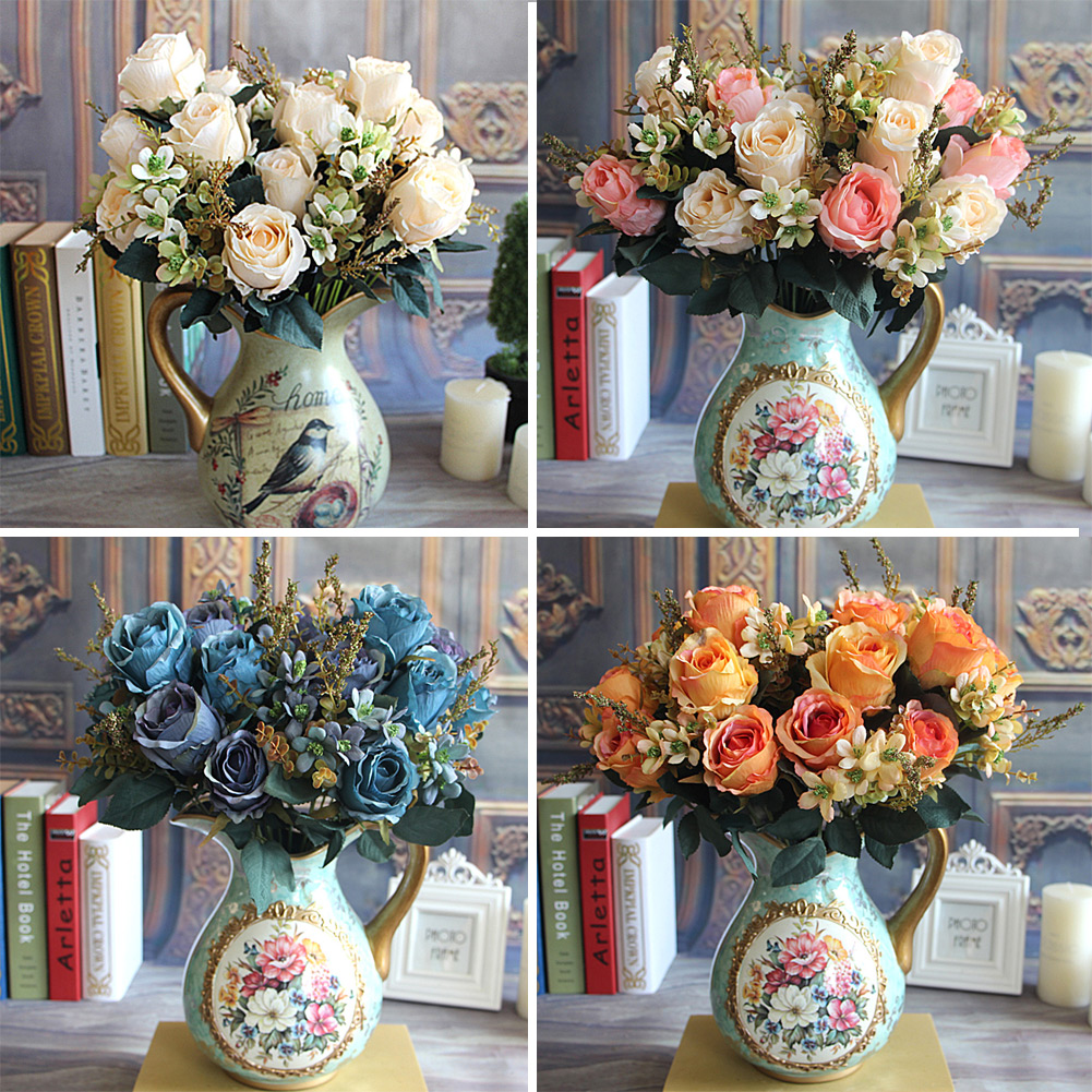 Silk flower european large earl rose bouquet artificial for Artificial flower for wedding decoration
