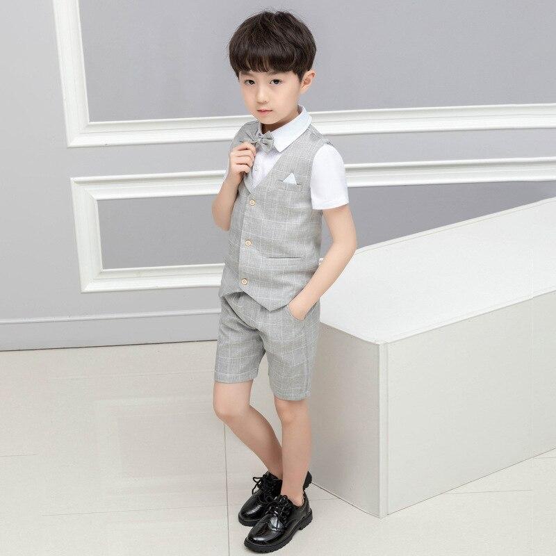 LUOBOBEIBEI garçon enfants vêtements enfant décontracté ensemble printemps été 2019 bébé garçon formel ensemble 4 pièces gilet chemise pantalon garçon vêtements