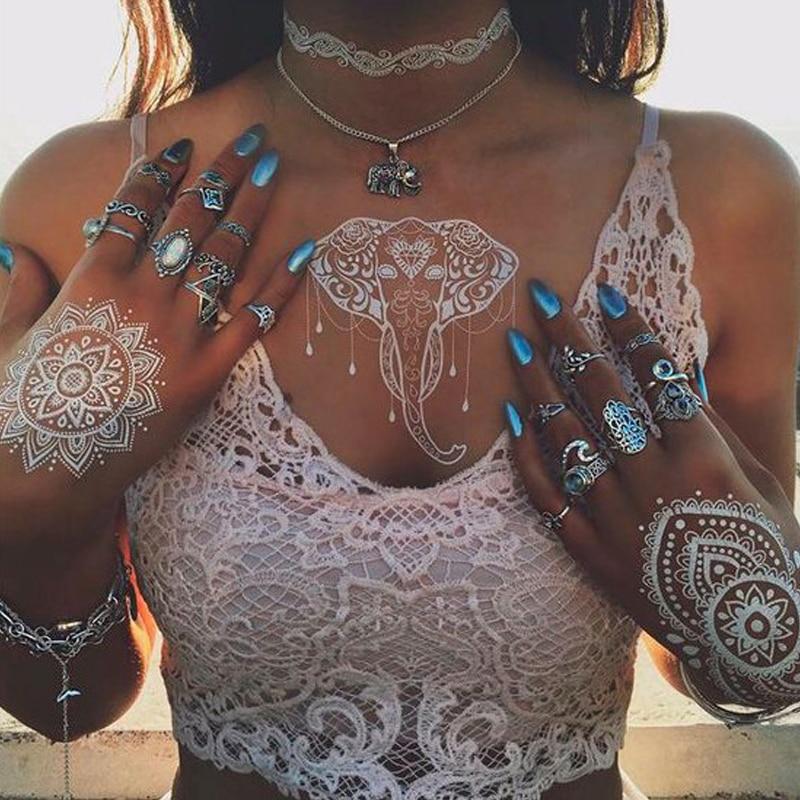 White Henna Paste Women Temporary White Lace Flower Left Temporary Tattoo Sticker Body Art Paint Waterproof  For Wedding
