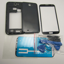 Black/White Note II Full Housing Case Middle Frame &  Battery Cover & Screen Glass For Samsung Galaxy Note 2 N7100 + Free Tools