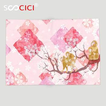 Custom Soft Fleece Throw Blanket Flower House Decor Monkey Family On Floral Tree Branches With Minimalist Background