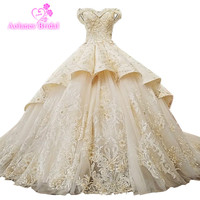 Luxury Long Sleeve Embroidery Arabic Wedding Dresses 2018 Plus Size Bridal Gowns Lace Up Floor Length Vestidos De Noiva De Luxo