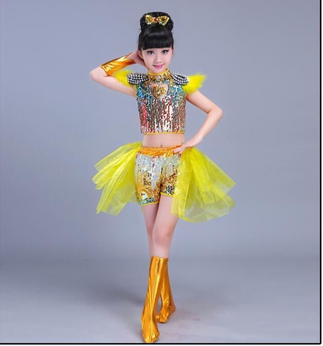 Детская одежда с блестками для бальных танцев, джаз, хип-хоп, сценическая одежда, костюмы для выступлений, одежда, топ, рубашка, шорты, сценическая одежда для мальчиков и девочек, танцевальные костюмы - Цвет: Бежевый