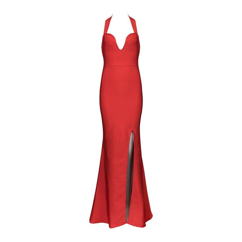 Otoño Especial Fiesta Elegante Largo Nuevo Rojo Maxi Vestido Vendaje Noche Verano Split Sexy Negro Halter Lado tC4pRq