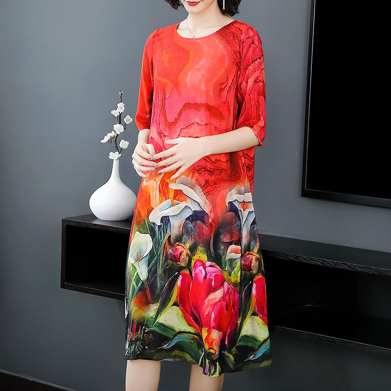 YICIYA Red 2019 Summer Flowing Pure Silk Dress Plus Size Big for Women High Quality Midi Loose Elegant Chinese Robe Clothing