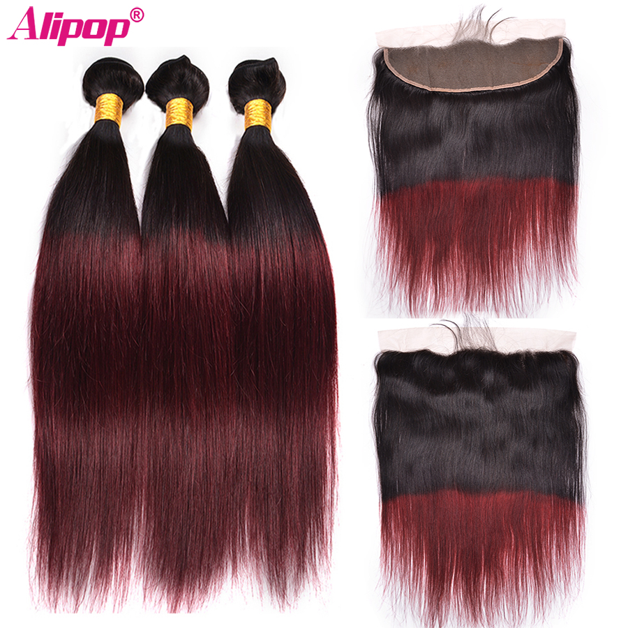 1B/99J Ombre Human Hair Bundles With Closure Peruvian Hair Bundles With Closure Alipop 13x4 Lace Frontal Closure NonRemy Hair