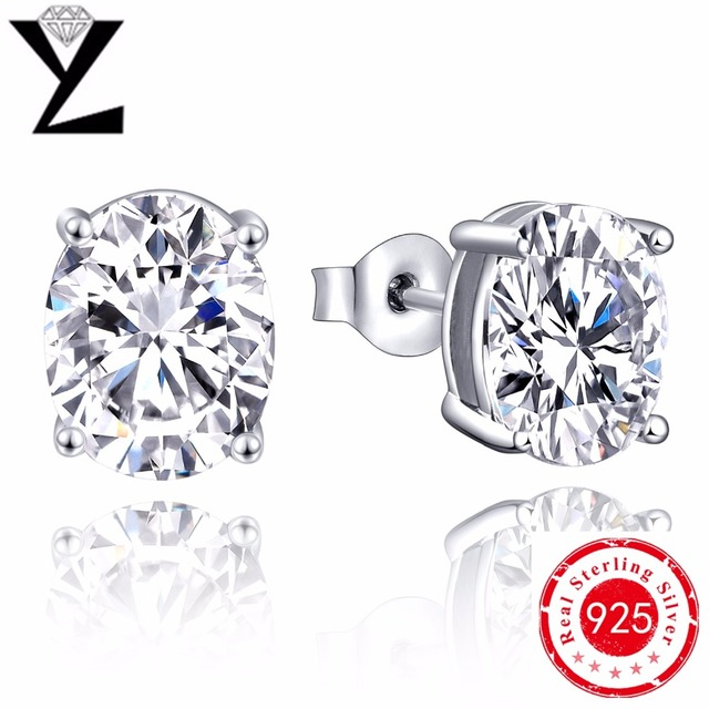 Hot Sales Real 925 Sterling Silver Jewelry Stud Earrings Black Created Diamond Zircon CZ for Man Woman Christmas Gift Accessory