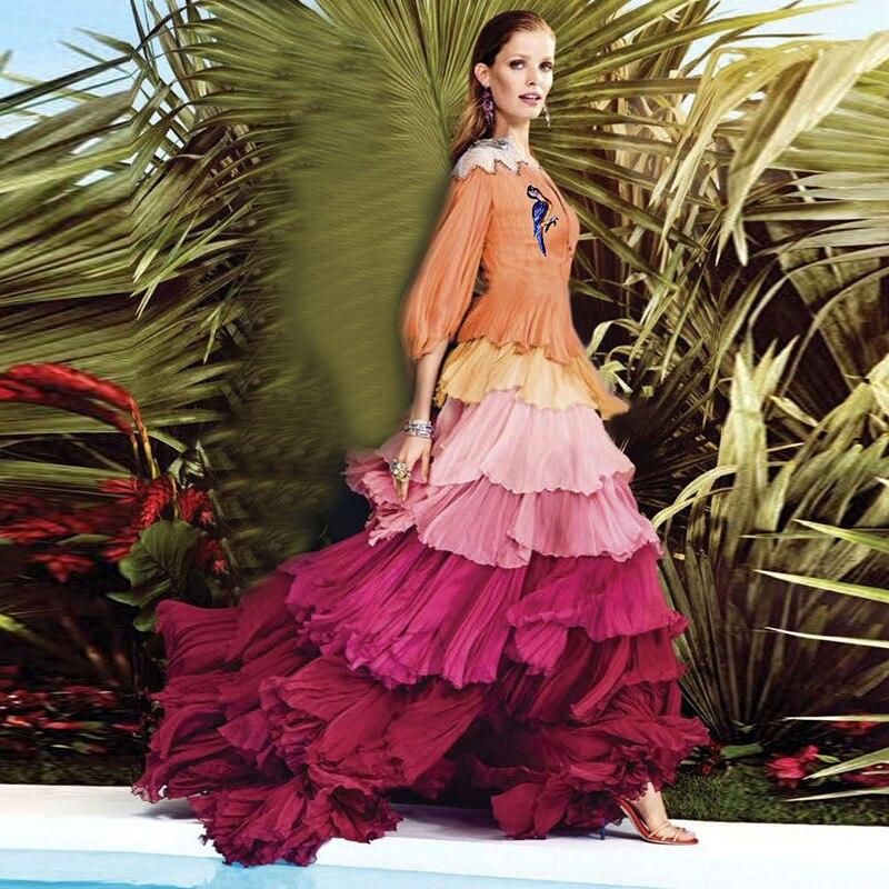 LD413 nouvelle mode femmes vêtements Catwalk haut de gamme broderie Exquiste couleur pli parfait robe en couches