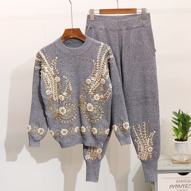 2019 Autumn 2 Piece Set Women Beading Embroidery Knitted Sets Sweater Trousers Pants Suit Winter Women Two Piece Set Tracksuits