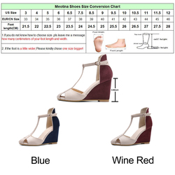 Meotina Shoes Women Pumps High Heels Wedges Heels T-Strap Shoes Spring Ladies High Heel Shoes Cutout Party Pumps Summer Blue Red 6