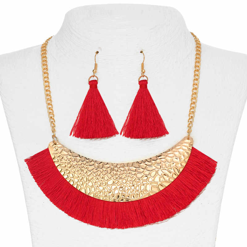 ZOSHI New Tassel Necklaces Earrings Jewelry Set Long Gold Chain Maxi Chocker Collar Necklace Tassel Earrings Set Women Gifts